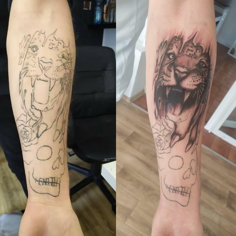 radka gioia lion tattoo